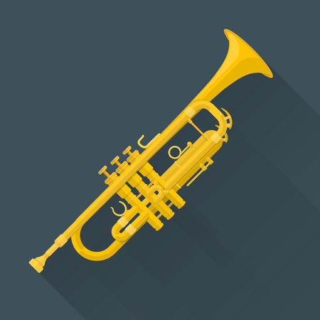 Koyu arka plan üzerinde renkli düz stil vektör trompet