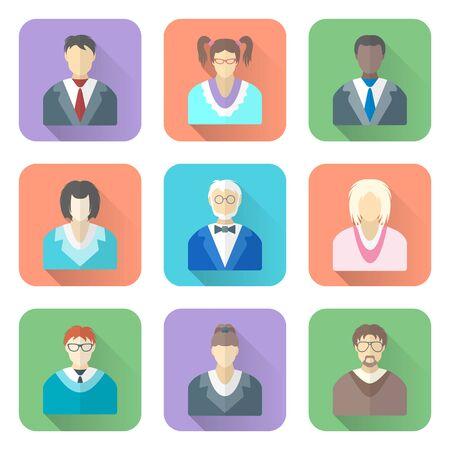 gözlük simgeleri vektör renkli düz stil çeşitli insanların uzun gölgeleri set