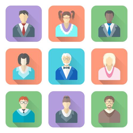 vector colored flat style various people in glasses icons set long shadows