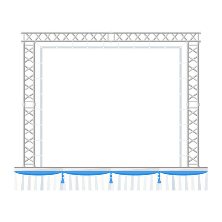 vector flat style sectional precast concert metal stage with banner