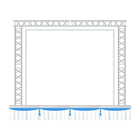 vector vlakke stijl sectionele prefab concert metal podium met banner