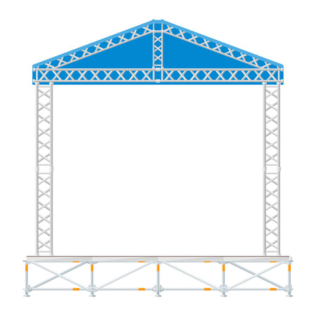 sectional: vector flat style sectional precast concert metal stage with blue roof Illustration