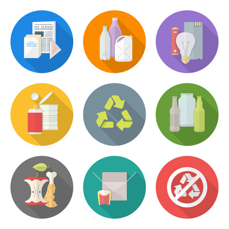 glass recycling: vector flat style various waste colored groups long shadow icons set for separate collection and recycle garbage Illustration