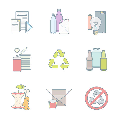 recycling bottles: vector color outline infographic various waste groups icons set for separate collection and recycle garbage