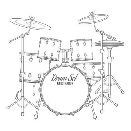 vector donkere omtrek drum set op een witte achtergrond bas tom-tom ride-cimbaal crash hi-hat snare stands