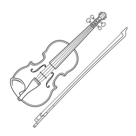 ベクトル灰色のアウトライン ベクトル バイオリン バイオリン弓ホワイト バック グラウンド テクニカルイラストレーションに 写真素材 - 36472620