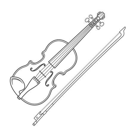 fiddle: vector grey outline vector violin fiddle bow on white background technical illustration