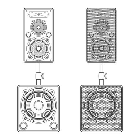 subwoofer: vector dark outline loudspeakers kit satellites on stands with subwoofer technical illustration Illustration