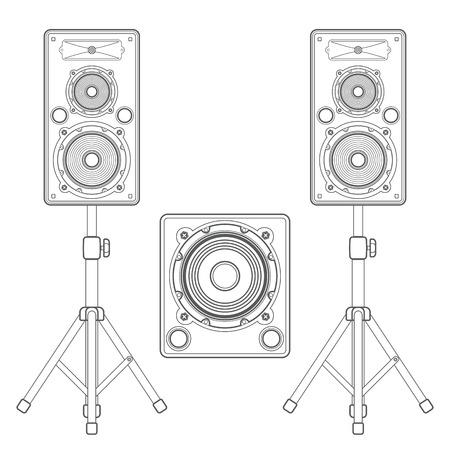 subwoofer: vector dark outline loudspeakers kit satellites on stands and subwoofer technical illustration