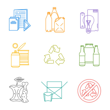 color separation: vector colored outline groups infographic various waste icons set for separate collection and recycle garbage