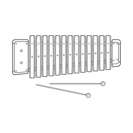 beyaz arka plan, teknik resimde sopalarla renk koyu anahat vektör ahşap ksilofon