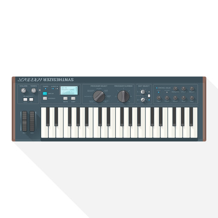 piano roll: color flat style vector grey blue piano roll analog synthesizer faders buttons knobs display on white background