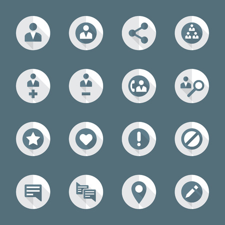 exclude: vector dark gray white flat design round various social network actions icons set long shadows