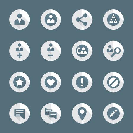 vektör koyu gri beyaz düz tasarım yuvarlak çeşitli sosyal ağ eylemleri simgeler uzun gölgeler ayarlanır