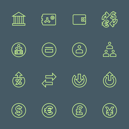 entity: vector light green outline various financial banking icons set on dark background Illustration
