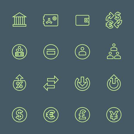 Vektör açık yeşil anahat çeşitli finansal bankacılık simgeleri koyu arka plan üzerinde belirlenen