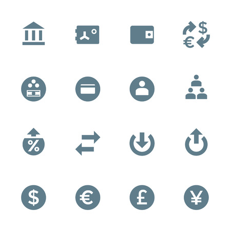 vector dark gray silhouette various financial banking icons set on white background