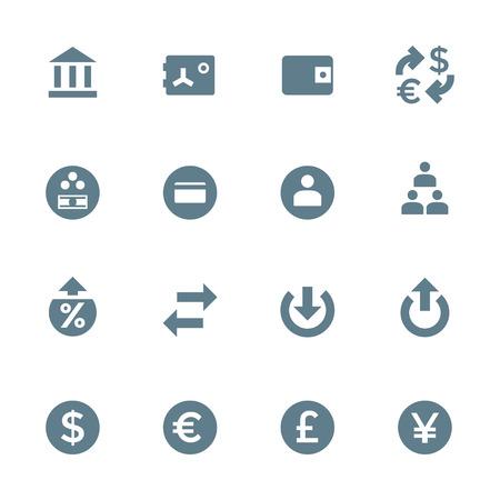 vektör koyu gri siluet çeşitli finansal bankacılık simgeleri beyaz zemin üzerinde set