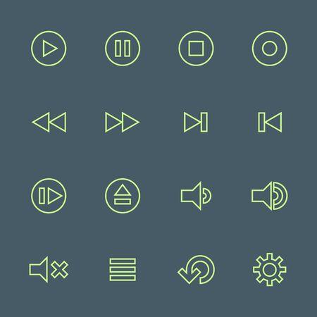 vector light green outline various media player icons set on dark background
