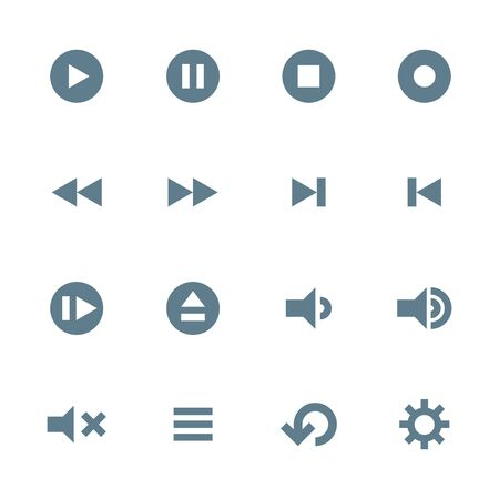 music player: vector dark gray silhouette various various media player icons set on white background Illustration