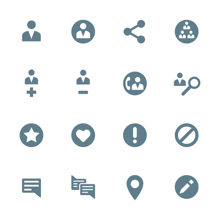 social actions: vector dark gray silhouette various social network actions icons set on white background Illustration