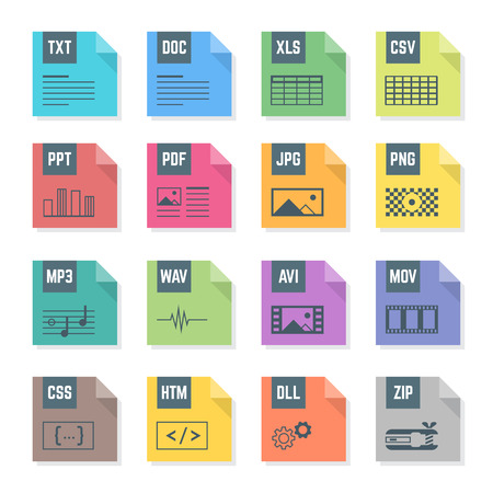 htm: vector various flat design colored file formats icons with symbols illustrations white background