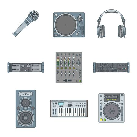 dj equipment: vector various color outline sound dj equipment devices icons set white background Illustration