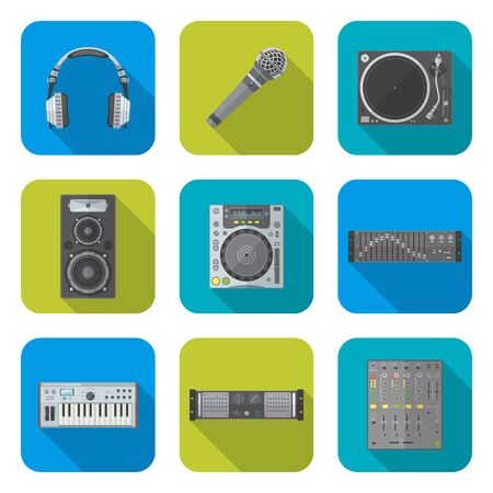 dj equipment: vector various color flat design sound dj equipment devices icons set square background