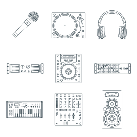 vector various dark outline sound dj equipment devices technical illustration icons set white background Ilustrace