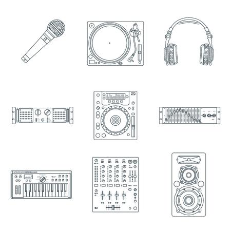 vinyl disk player: vector various dark outline sound dj equipment devices technical illustration icons set white background Illustration
