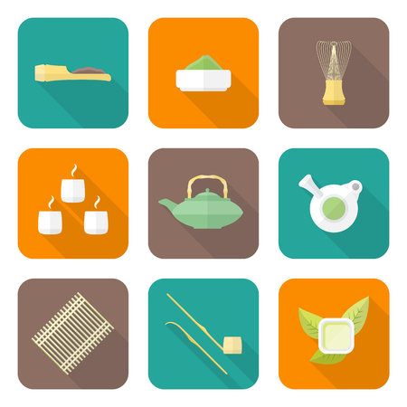 tea ceremony: vector colored flat design japan tea ceremony equipment icons collection tools set Illustration