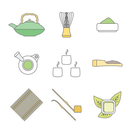dipper: vector colored outline japan tea ceremony equipment icons collection tools set white background