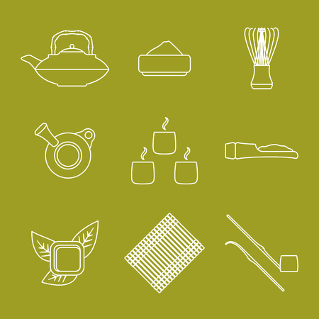 vector white outline japan tea ceremony equipment icons collection tools set green background Ilustracja