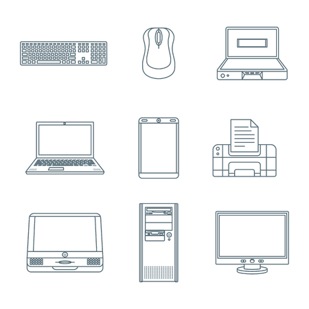 monoblock: vector dark grey outline various computer gadgets office devices icons set