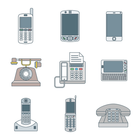 pda: vector colored outline various telephones gadgets devices icons set