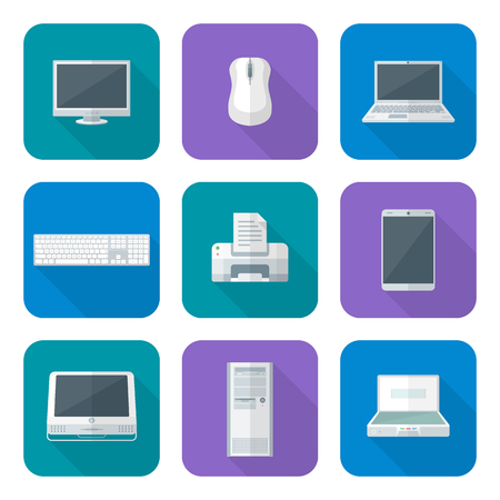 monoblock: vector flat design color various computer gadgets office devices icons set long shadow
