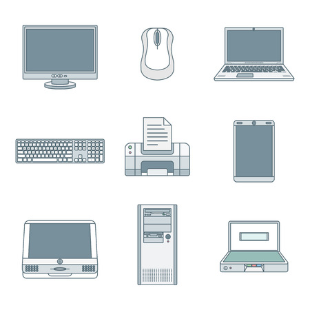 lcd monitor printer: vector colored outline various computer gadgets office devices icons set