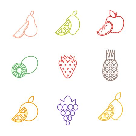vector color simple outline various fruits icons set