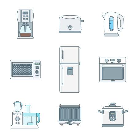 vector color outline various kitchen electric devices gadgets icons set