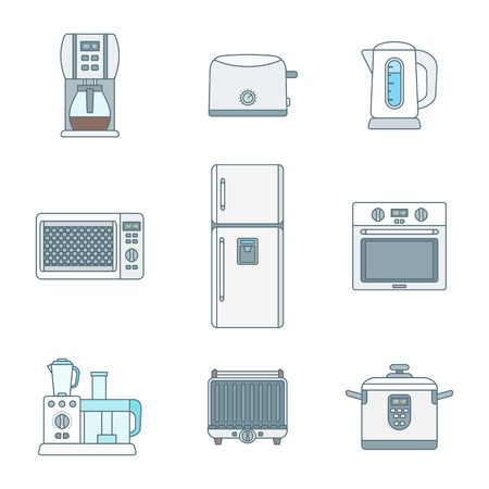 Vektör renk çeşitli mutfak elektrikli cihazlar gadget'lar simgeler set anahat Illustration