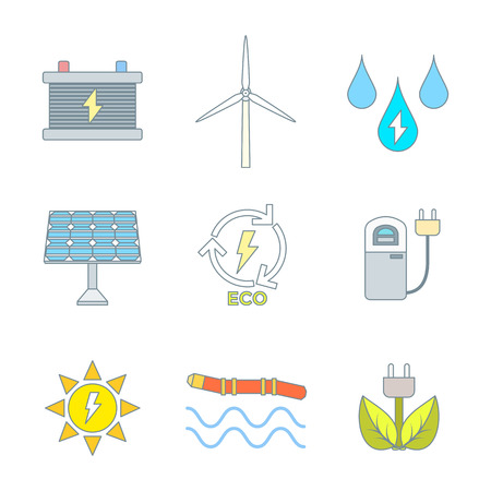 vector color outline recycle ecology energy icons set Vector
