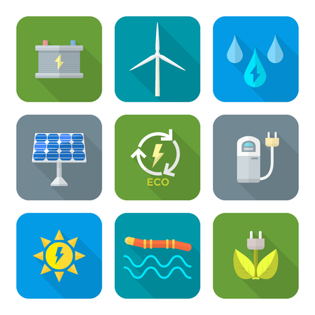vector color flat design recycle ecology energy icons set long shadow Vector