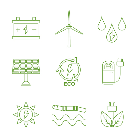 vector green outline recycle ecology energy icons set white background