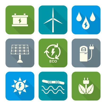 vector light color flat design recycle ecology energy icons set long shadow Vector