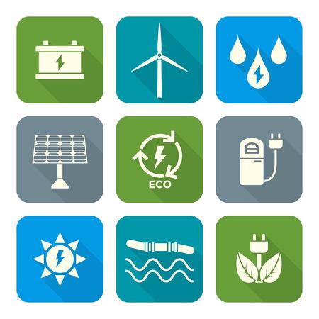 Vektör açık renk düz tasarım geri dönüşüm ekoloji enerji simgeleri uzun gölge set