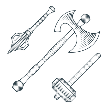 warhammer: vector black color medieval axe warhammer mace engraving style illustration set white background