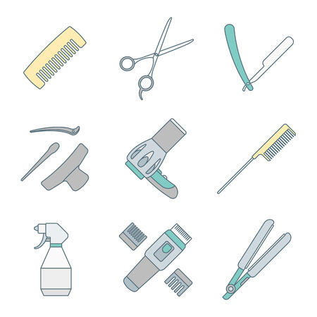 drier: vector hairdresser barber tools equipment colored outline icons set Illustration