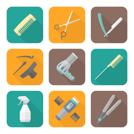 cutthroat: vector hairdresser barber tools equipment colored flat design icons set long shadows Illustration