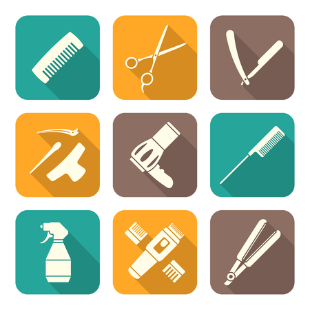 cutting hair: vector hairdresser barber tools equipment white color flat design icons set long shadows