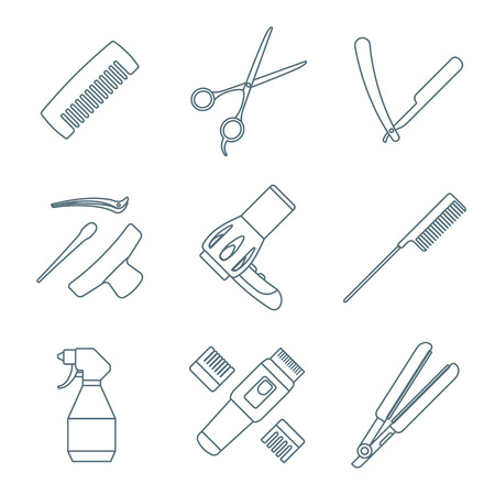 cutthroat: vector hairdresser barber tools equipment dark grey color outline icons set white background